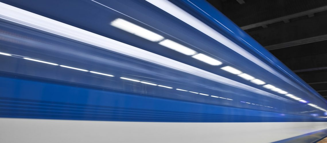Just a close shot and almost abstract of a metro passing by. Long exposure and no people in the shot. This image create some nice white stripes !